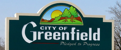 City of Greenfield - Pledged to Progress Sign